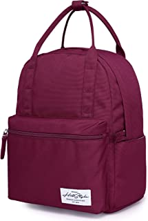 8812s Medium Sized Backpack for Women & Teen Girls, Cute Book Bag for School, College, Travel and Work, Maroon