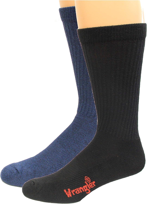 Wrangler Ultra-Dri Riggs Workware Crew Socks 2 Pair, Black/Navy, Men's Shoe Size 9-13