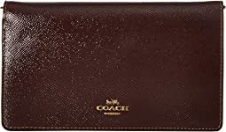코치 체인 클러치 COACH Fold-Over Chain Clutch in Crossgrain Patent Leather,B4/Oxblood