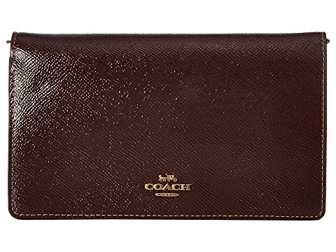 a73f9ae670 COACH Fold-Over Chain Clutch in Crossgrain Patent Leather at Zappos.com