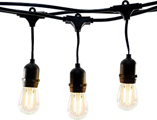 Hyperikon LED Outdoor Commercial String Lights, 48ft with 15 Hanging Sockets, 2W LED S14 LED Bulbs Included - Weatherproof Vintage Edison String Lights for Patio, Backyard, Party Wedding Decoration