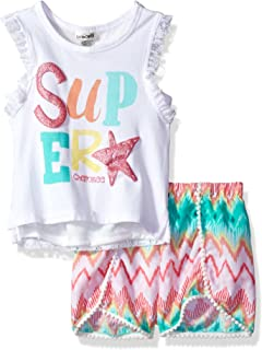 Cherokee Girls' Toddler Tank with Lace Back and Challis Short Set