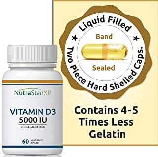 NutrastanXP Vitamin D3 Cholecalciferol Supplement for Men Women 5000 IU - 60 Liquid Filled Capsules