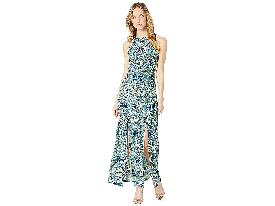 London Times Technicolor Tile Maxi Dress w/ Slits (Green) Women