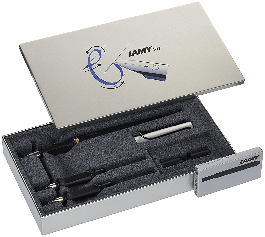 LAMY Joy AL 011 Calligraphy Set in Black and Aluminium with Black Ink Cartridges