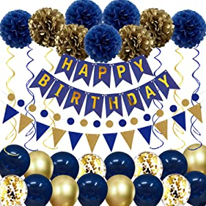 Navy Blue Gold Birthday Decorations, Birthday Party Supplies for Men Women Boys Girls with HAPPY BIRTHDAY Banner, Tissue Paper Flowers Pom Pom, Pennant and Circle Dot String, Latex Confetti Balloons