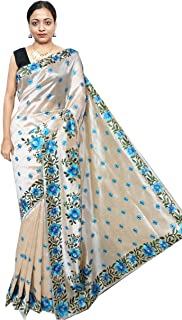 f4a2a44686b4e7 Red Saree Women's Rose Motive Embroidery Silk saree | RS285 | Silver -  Turquoise | Free