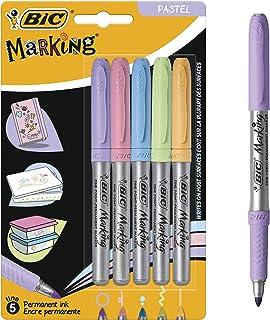 BIC Marking Marqueurs Permanents à Pointe Conique Moyenne - Couleurs Pastel Assorties, Blister de 5