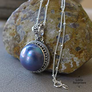 Purple Grey Mabe Pearl Bali Sterling Silver Pendant 20 Inch Necklace JD138