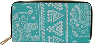 Turquoise and White Elephant Printed Wallet Clutch Purse
