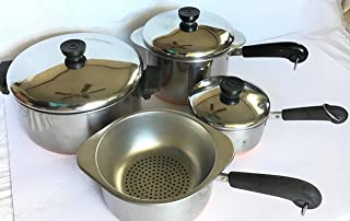 Revere: 4qt stockpot/dutch oven; 3qt; 2qt; 1qt; saucepans; Steamer & Double boiler inserts & 3 lids.