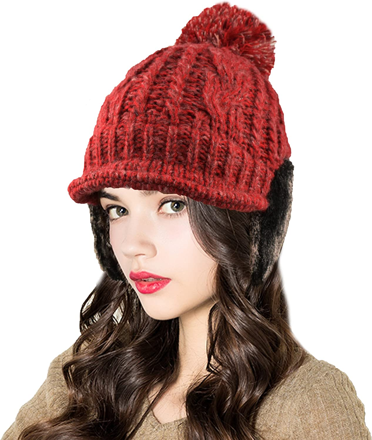 Ellewin Winter Cable Knitted Hat with Visor Bill and Earmuffs for Women and Girls