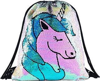 Unicorn Gift Sequin Mermaid Drawstring Backpack Gym Dance Bags for Girls Kids Magic Reversible Flip Sequin School Bag Shoulder Travel Bags Birthday Gift for Daughter Children Women