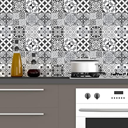 60 Stickers Adhésifs Carrelages | Sticker Autocollant Carrelage   Mosaïque  Carrelage Mural Salle De Bain Et Cuisine | Carrelage Adhésif   Nuance De  Gris ...