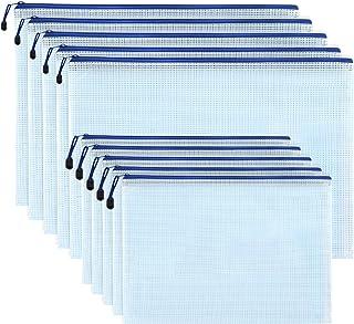 حقيبة المستندات من لورفين 20 قطعة بسحاب، حجم الحروف A4 وA3 ملف بسحاب شبه شفاف مقاوم للماء لتخزين لوازم المكتب المدرسية والسفر