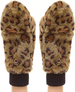 MIRMARU Women's Winter Fully Lined Faux Fur Flip Cover Mitten Gloves.