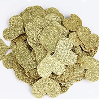 Gold Glitter Double Sided Heart Paper Confetti for Table Wedding Birthday Party Decoration,1.2 inch in Diameter(100pcs)