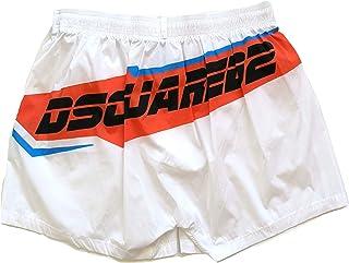 44a08603e6356e DSQUARED Costume da Bagno Uomo Boxer Corto D7B6G2640.110 Swim Shorts Bianco  48