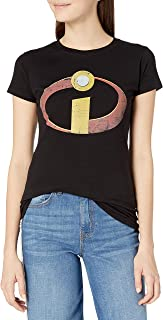 Disney womens Incredibles Distressed Logo Graphic Crew Tee Shirt