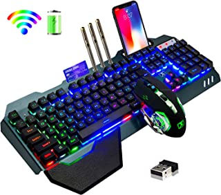 Wireless Gaming Keyboard and Mouse,Rainbow Backlit Rechargeable Keyboard Mouse with 3800mAh Battery Metal Panel,Removable ...