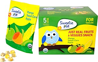 Sweetie Pie Organics Freeze-dried Fruits & Veggies Snack for Toddler & Baby, Mango/Sweet Corn/Apple, 1 Oz