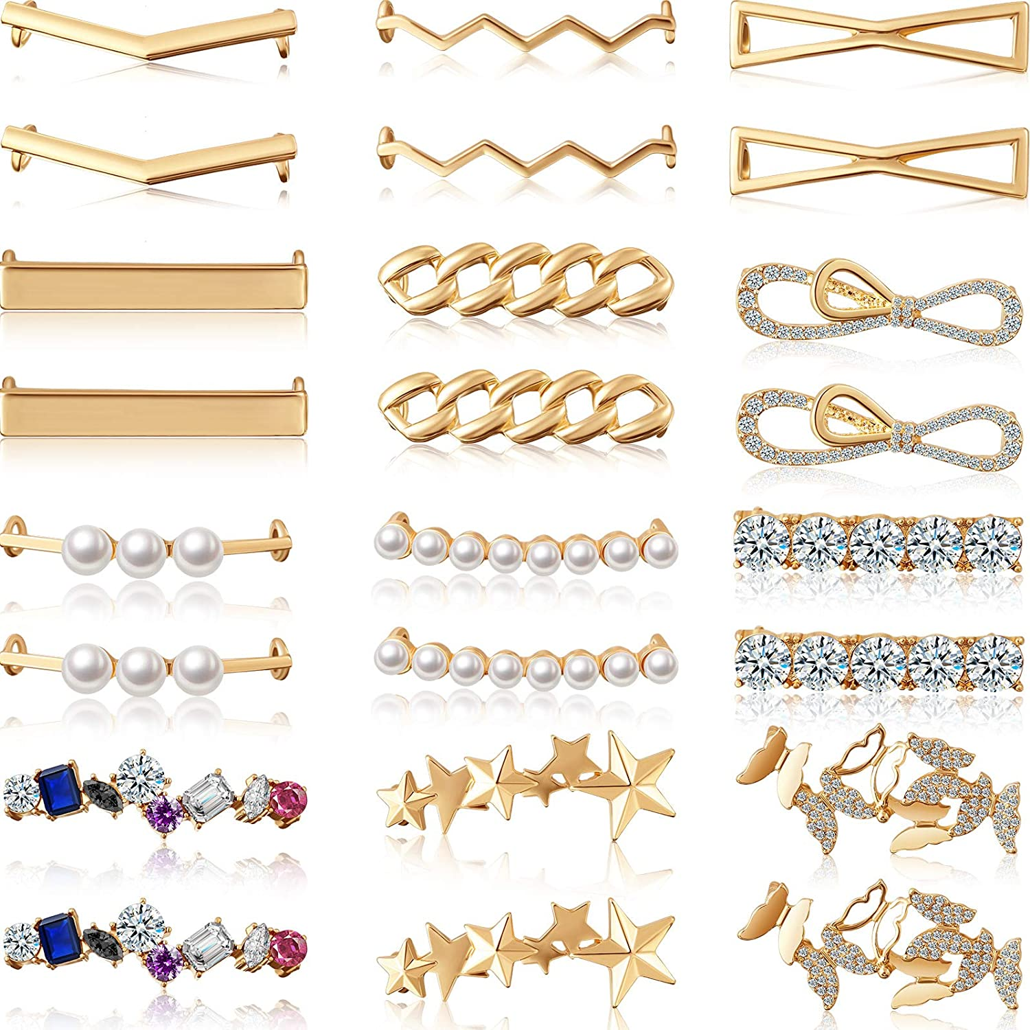 24 Pieces Shoelaces Free shipping anywhere trend rank in the nation Clips Decorations Cha Pearl Faux Rhinestones