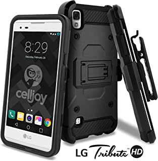 LG Tribute HD Case, LG X Style Case, Celljoy [Carbon Stealth Armor] (Black) Dual Layer Protective ((Shockproof)) Hybrid Reinforced Bumper Rugged {Kickstand} [Locking Swivel Belt Clip Holster Combo]
