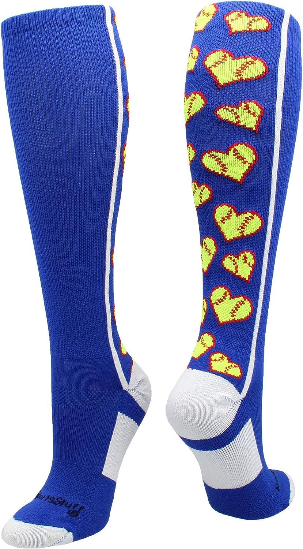 MadSportsStuff Softball Socks with Love Softball Hearts for Girls or Women Athletic Over The Calf Socks