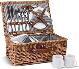 Picnic Basket for 2, Willow Hamper Set with Insulated Compartment, Handmade Large Wicker Picnic Basket Set with Utensils C...