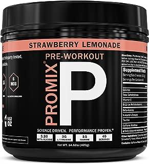 ProMix Nutrition Pre Workout Powder Strawberry Lemonade 40 Servings with Antioxidants Taurine Tyrosine Beta Alanine B12