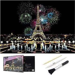 大人のためのスクラッチアート、スクラッチペーパーレインボーペインティングスケッチパッドDIYアートクラフトナイトビュースクラッチボード、きれいなブラシ、スクラッチカラーペン、16 X 11.2インチ (Fireworks Paris)