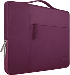 MOSISO Laptop Briefcase Handbag Compatible with 13-13.3 inch MacBook Air, MacBook Pro, Notebook Computer, Polyester Multifunctional Carrying Sleeve Case Cover Bag, Wine Red