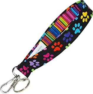 Colorful Paw Prints Key Fob - Colorful Key Chain - Dog or Cat Pawprints - 1 Inch Wide - 6 Inch Loop - Wallet or Purse Strap - Pet Accessories