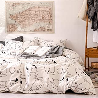 BBSET 3 Pcs Cats Duvet Cover Set Queen, 100% Cotton Bedding, Various Cartoon Cats Animals Pattern Printed on White for Kids Teens Boys Girls