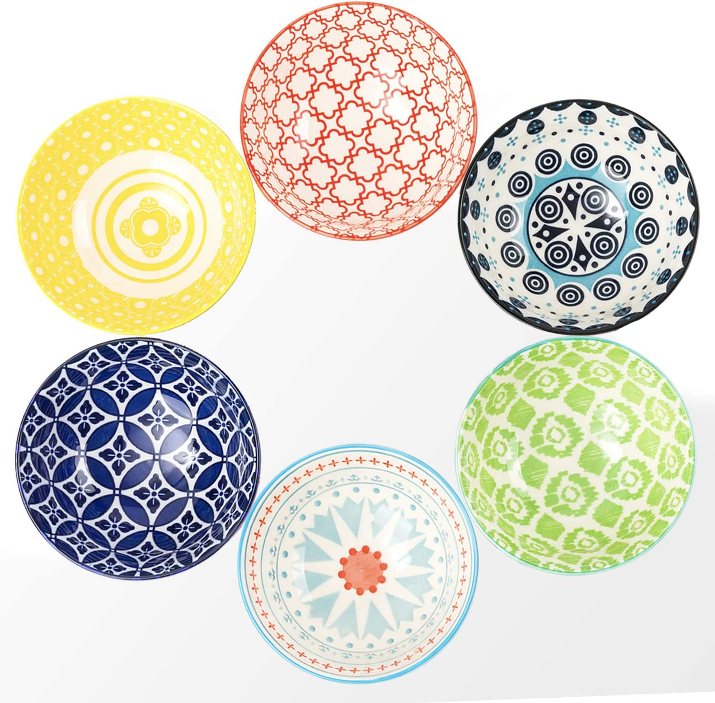 DeeCoo 6 Pack 24 Super special price oz Premium Porcelain Bowls Set C Cereal Max 49% OFF