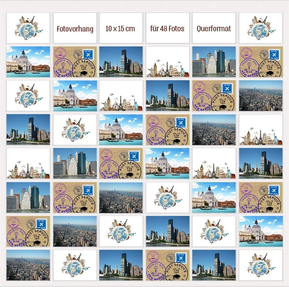 Trendfinding® Fotovorhang 50 x 50 cm Querformat Foto Bilder Postkarten  Format Fotowand Fotogalerie Fototaschen Fotohalter Taschenvorhang Fotos 50  ...