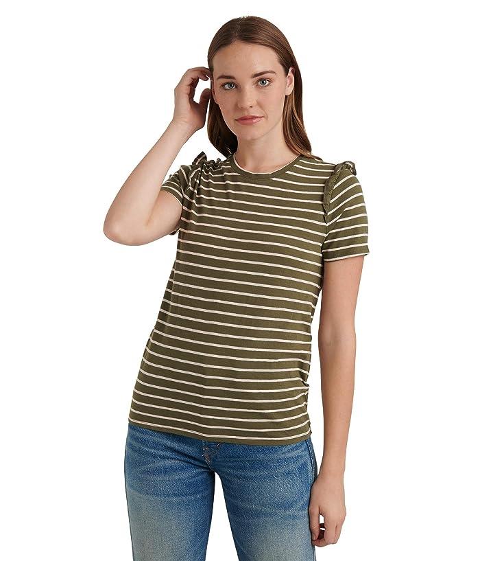 Lucky Brand  Short Sleeve Crew Neck Stripe Ruffle Tee (Olive/Pink Stripe) Womens Clothing