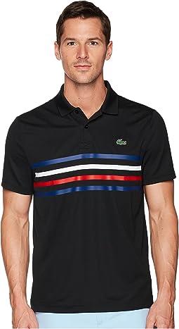 Short Sleeve Pique w/ Multicolor Fine Stripes