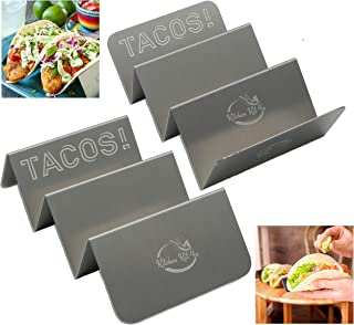 Taco Holders Tray Style Taco Plates for Soft & Hard Shell Tacos & Burrito`s made of Stainless-Steel 304 - Oven, Grill and Dishwasher Safe. Comes in 2 & 4 Great Value Packs