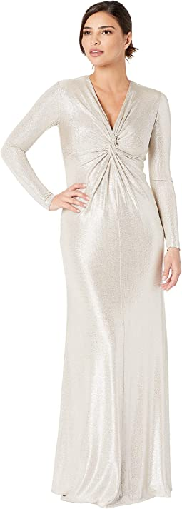 Long Sleeve Twist Front Foil Knot Gown