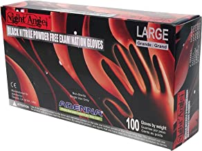 Adenna Night Angel 4 mil Nitrile Powder Free Exam Gloves (Black, Large) Box of 100