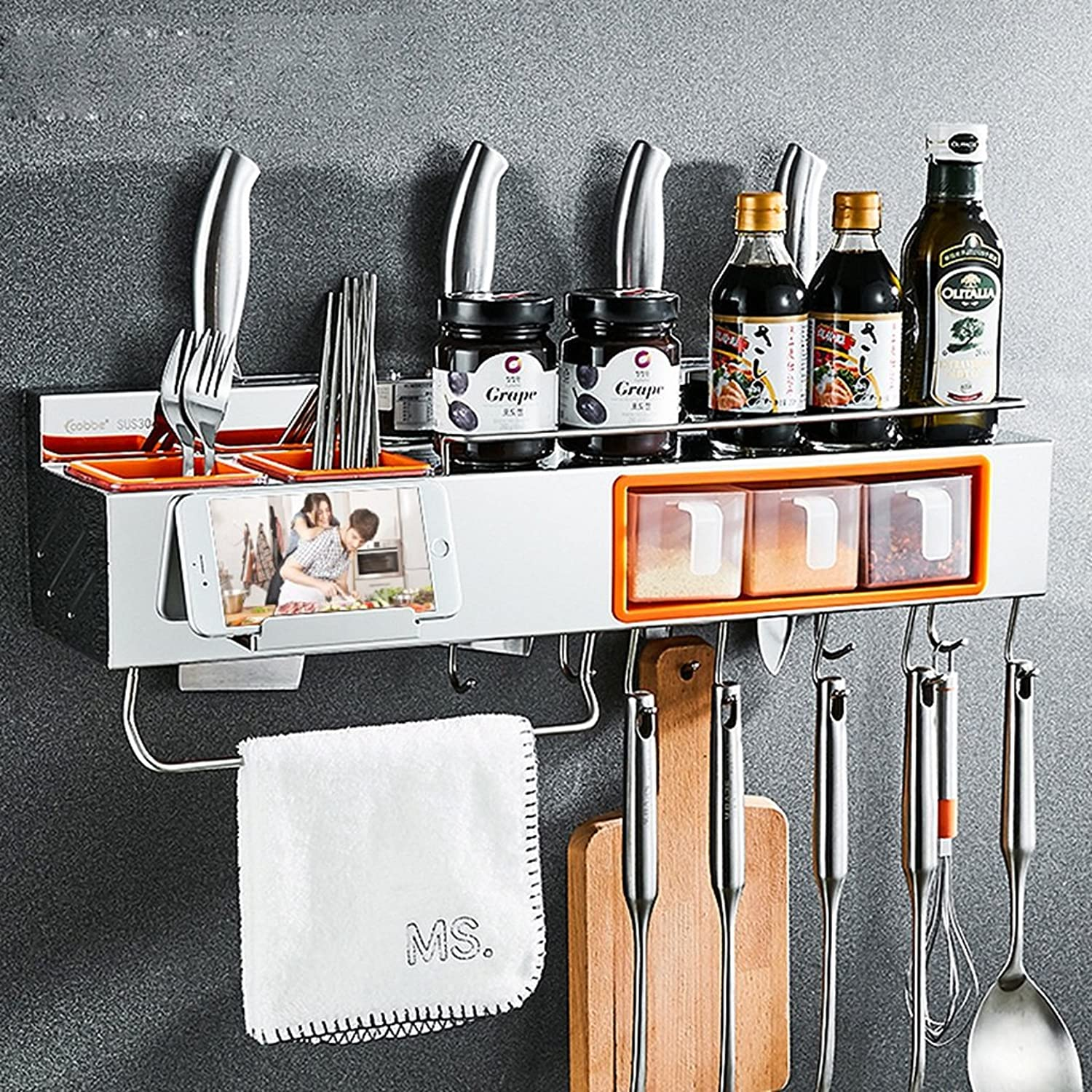 Kitchen Shelf Wall-Mounted Shelf Wall Kitchenware Storage Shelf 304 Stainless Steel -by TIANTA (Size   80 cm)