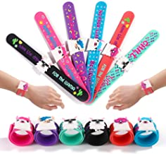 FROG SAC 6 Llama Slap Bracelets for Kids, Girls and Boys - Llama Theme Birthday Party Favors and Supplies - Llama Charm Silicone Snap Bracelet Set - Holiday Stuffers, Goodie Bag Fillers