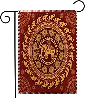 Creative Home Garden Flag Elephant Mandala Tribal Mehndi Ethnic Backdrop with Lotus Flowers Guardian Animal Decorative Welcome House Flag for Patio Lawn Outdoor Home Decor, Polyester 12 x 18 inch
