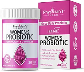 Probiotics for Women - Clinically Proven Pacran - Organic Prebiotics, 50 Billion CFU, D-Mannose & Wholefruit Cranberry for Digestive, Immune, Feminine Health, Soy & Dairy Free, 30 Vegan Capsules