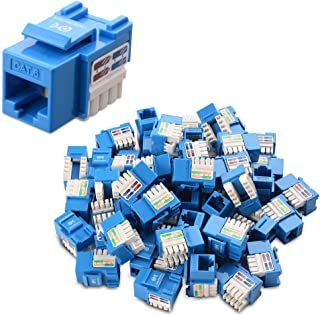 Cable Matters UL Listed 50-Pack Cat6 RJ45 Keystone Jack in Blue and Keystone Punch-Down Stand