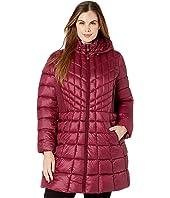 Plus Size EcoPlume Bib Hooded Walker Puffer Coat