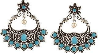 Boho Vintage Antique Gypsy Tribal Crystal Kundan Indian Oxidized Silver Chandbali Dangle Earrings Jewelry