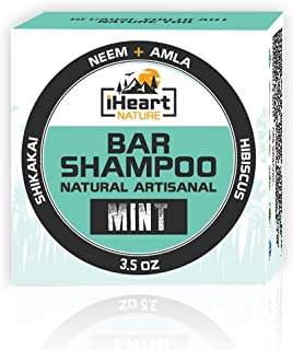 Organic Shampoo Bar (Packed with Neem Amla Shikakai Hibiscus) Made in USA (Natural Herbal Clarifying Surfactant Free Shampoo) Ayurvedic Handmade Aromatherapy (Mint)