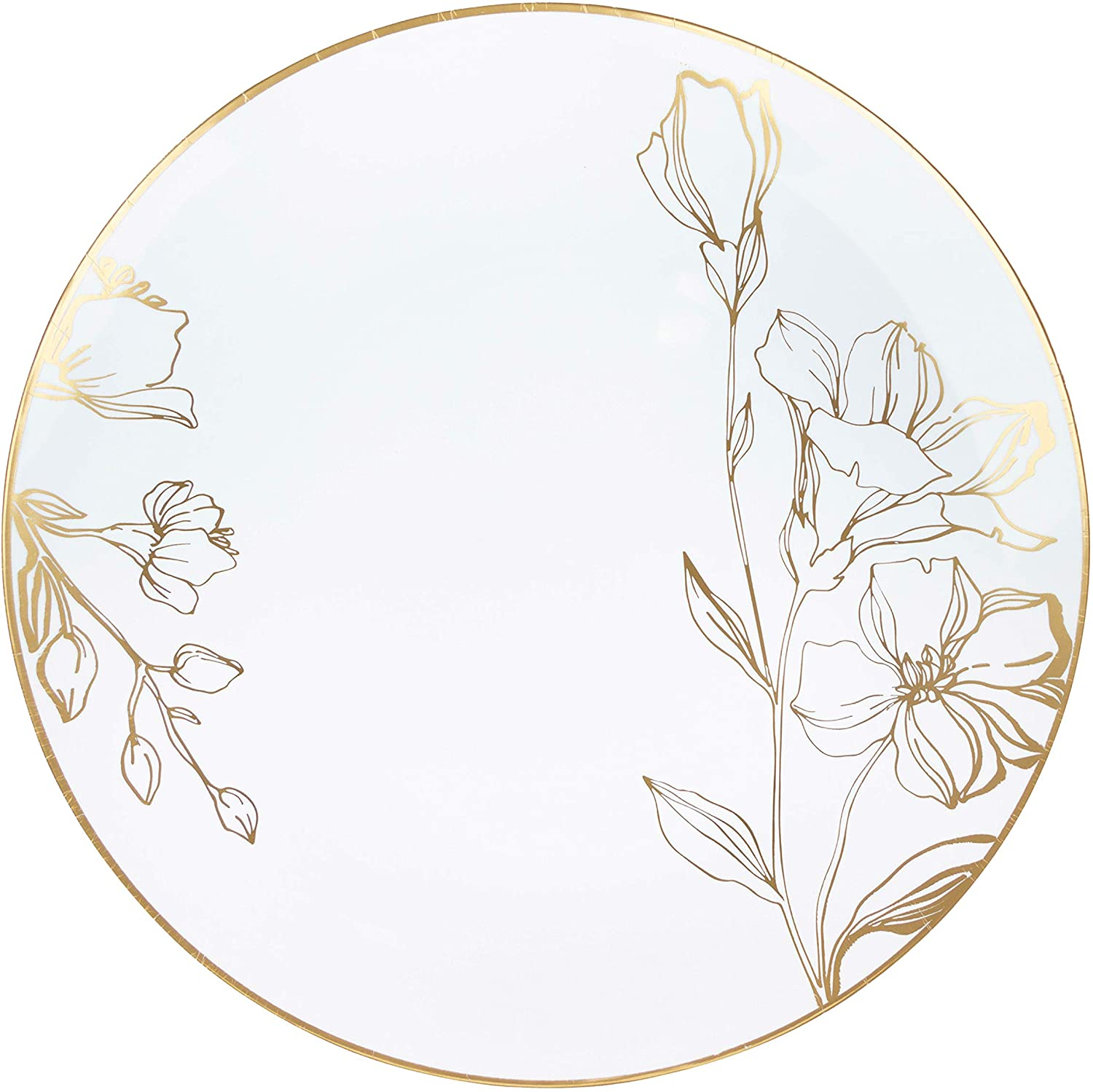 10'' Inexpensive Plates 40 Count White Plastic Sale special price Party Dinner Floral Design